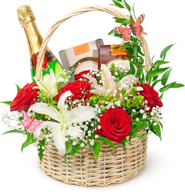 Фото подарочных корзин с цветами 28